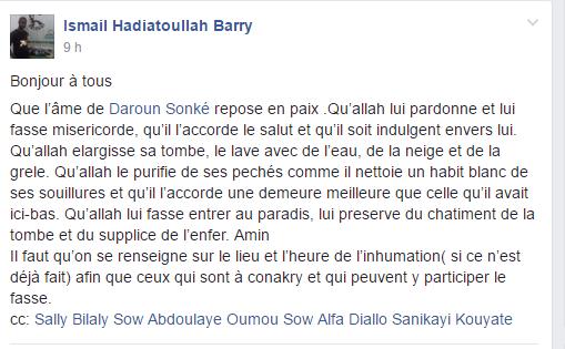 Prière de Ismaila Pour son ami Daroun